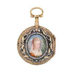 Antique Jeweled Pocket Watch With Portrait Of Madame de Pompadour, In Gold Case    c. 18th Century