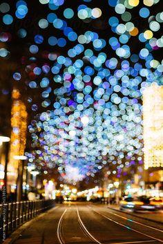 Urban city lights bokeh by Peter Wey - Stocksy United City Lights Photography, Bokeh Photography, Urban Photography, Night Photography, Street Photography, Landscape Photography, Photography Ideas, Tilt Shift Photography, Experimental Photography