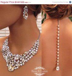 Bridal jewlery Bridal back drop bib necklace by BijouxandCouture, $132.30