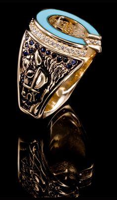 J. Chapa Hernandez | Turquoise Horse Shoe Ring TR-602 - MEN'S RINGS | Bellevue, WA