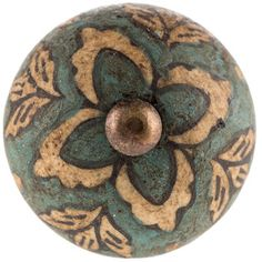 Antique Blue Floral Ceramic Knob