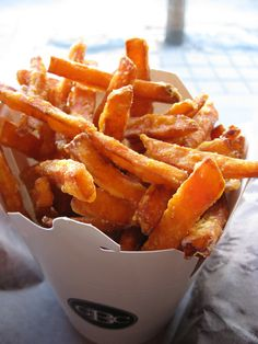 Sweet Potato Fries: Loaded with vitamin A, oven-baked sweet potato fries are a delicious, healthier alternative to the standard deep-fried french fry. Use a dash of seasoning for an extra zero-calorie kick!   Source: Flickr User Renée S. Suen