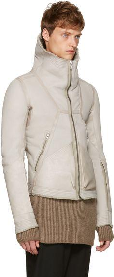 Rick Owens - Grey Shearling Biker Jacket