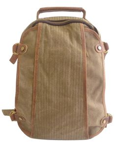fc3c827fff2 Genuine leather pull straps and a large front pocket are just two  characteristics of this backpack