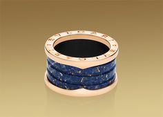 B.ZERO1 ring in 18 kt pink gold and blue MARBLE!!! Who would have thought of marble in a ring?? how cool!