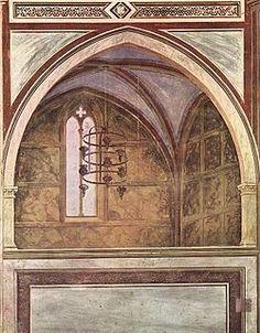 """Giotto, Coretto, Cappella degli Scrovegni, Padova. """"E torna anche tutta l'attenzione architettonica di Giotto, il primotrompe-l'oeil della storia là dove viene a sostituire l'abside che non esiste. Un'architettura dipinta, aperta all'esterno attraverso una serie di grandi finestre, che mostrano la realtà che sta dietro a esse, con un cielo azzurro diffuso dappertutto, che ne costituisce il fondale scenico"""". Philippe Daverio, Guardar lontano, veder vicino."""
