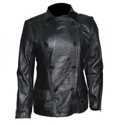 Breaking Dawn 2 Kristen Stewart Authntic Black Leather Jacket    Jacket Features:Outfit type: Genuine Leather JacketGender: FemaleColor: BlackFront: Front Button ClosureCollar: Shirt Style CollarLining: Viscose LiningCuffs: Zip CuffsPockets: Two pockets on Front & Two ins