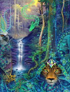"""Energia Felina"" Art Visionnaire, Spiritual Pictures, Psychadelic Art, Psy Art, Hippie Art, Visionary Art, Art Pages, Fractal Art, Trippy"