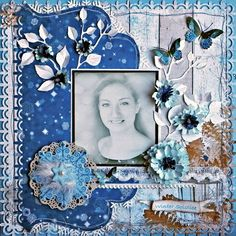 """A design team project for Scraps of Elegance featuring the December kit """"Winter Wishes"""" and CottageCutz featuring the Doily, leafy foliage and layered zinnia dies"""