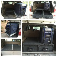 ARB roller drawer and Roller Drawer / Roller Floor outback drawers installed in my 2004 Toyota 4 Runner. Vehicle Storage, Truck Bed Storage, Toyota Lc, Toyota 4runner, Toyota Fj Cruiser, Land Cruiser, Pajero Off Road, Suv Camper, Cruiser Boards