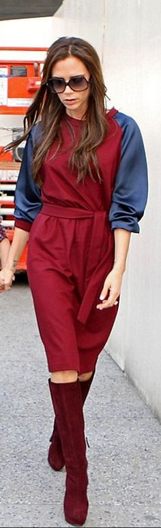 Who made Victoria Beckham's red suede platform boots and red and blue belted dress?