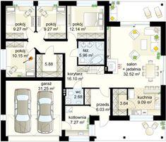 Gryf 4 projekt - Parter m gara? Square House Plans, House Floor Plans, Small House Design, Cottage Design, Bungalows, Building Plans, Building A House, Architectural Floor Plans, Tiny Apartments