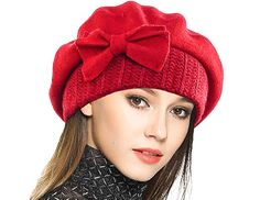 Lady French Beret Wool Beret Floral Dress Beanie Winter Hat - Bow-red - - hats for women Types Of Hats, Wool Berets, News Boy Hat, Hats For Sale, Dress Hats, Outfits With Hats, Beanie Hats, Women's Hats, Visor Beanie
