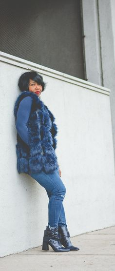 blue fur, winter outfit idea, faux fur, monochromatic outfit, sweenee style, fur, distressed denim, denim, red lips, indianapolis style blog, indy style