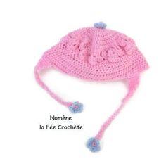 848568e0af06 Enfant-bébé, mes créas Un Grand Marché · Petit bonnet rose, au crochet, pour  bébé, fleur bleue, fait main,