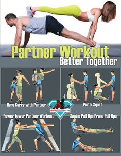 Partner Workouts - No Equipment couple workout at home for abs core legs &upper body. Buddy Up With These Great Exercises You Can Do With a Partner anywhere. Supine Pull-Ups, Partner Pistol Squats, Partner Power Tower, Hero Carry: The goal is to hold your Couples Workout Routine, Home Exercise Routines, Paar Workout, Butt Workout, Boxing Workout, Couple Workout Together, Fun Workouts, At Home Workouts, Ultimate Ab Workout