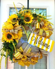 Check out this item in my Etsy shop https://www.etsy.com/listing/523704389/spring-sunflower-wreath-welcome