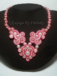 OOAK Soutache Jewelry Necklace Pearl Beads by DesignByNataly, $40.00