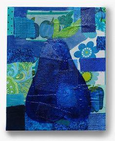 Mixed media blue pear canvas - paint, fabric, Mod Podge