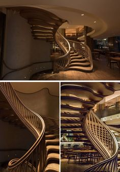 Atmos Studio have designed a sculptural wood spiral staircase that's the centerpiece for the 3-storey HIDE restaurant in London. Click through to see more photos of the staircase. #SpiralStairs #SculpturalStairs #Architecture #Design #WoodStairs #restaurantdesign