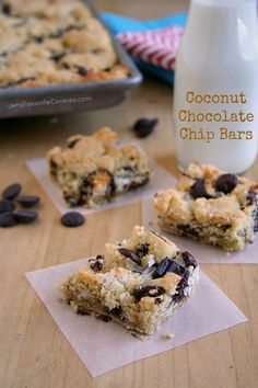 Coconut Chocolate Chip Bars -- planning on using chopped up Hershey's Coconut Kisses
