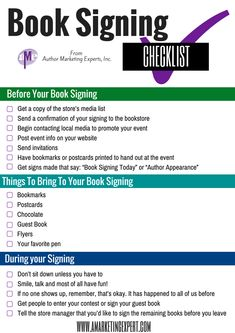 Have you secured a live book-signing event? Also, you'll love this checklist that breaks down what you need to do to prep for your book signing to make it successful. Make sure to click through to get tips on what to do after your book signing.