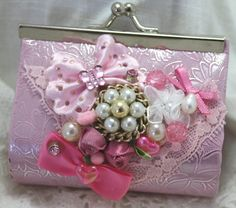 Beautiful Shabby Art Coin Purse Collage Altered ♥ by Pooyabee, $11.99