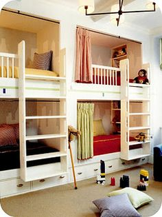 great built-in bunk beds...each with privacy...how many kids do you think I could fit in the attic?