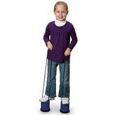 stilts....hahaha tin can with strings....