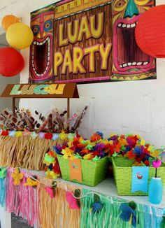 Kids birthday party ideas at home kids party decoration ideas best beach party images on luau Aloha Party, Luau Theme Party, Hawaiian Luau Party, Party Fiesta, Hawaiian Birthday, Luau Birthday, Tiki Party, Birthday Party Themes, Beach Party