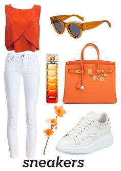 """""""White sneakers"""" by ilmatokanovic13 ❤ liked on Polyvore featuring Barbour, Rebecca Minkoff, Hermès, Alexander McQueen, HUGO and CÉLINE"""