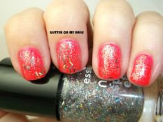 GLITTER ON MY NAILS: glitter on me @essencecosmetic  over neon pink