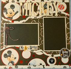 Mickey 12x12 Premade 2 Page Scrapbook Layout by 2ScrappyGals #scrapbooking #crafts #card ideas #paper projects #scrapping ideas