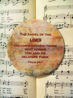 Psalms Magnet, Scripture Magnet, The Angel of the Lord, Large Magnet, Psalm 34:7, Refrigerator Magnet, Housewarming Gift Magnet by PrayerNotes on Etsy