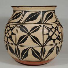 """#adobegallery - Very Large Pottery Jar from Kewa Pueblo. Vidal Aguilar (1972 - )      Category: Contemporary     Origin: Kewa Pueblo - Santo Domingo Pueblo     Medium: clay, pigment     Size: 13-1/2"""" height x 14-1/4"""" diameter     Item # C3765A"""
