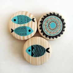 handpainted wooden magnets / set of 3 by fayruz on Etsy Pebble Painting, Ceramic Painting, Stone Painting, Painting On Wood, Ceramic Art, Feather Painting, Wood Crafts, Diy And Crafts, Arts And Crafts