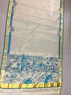Saree Painting Designs, Fabric Paint Designs, Hand Painted Sarees, Hand Painted Fabric, Kerala Mural Painting, Fabric Painting, Sarees For Girls, Kurta Patterns, Africa Art