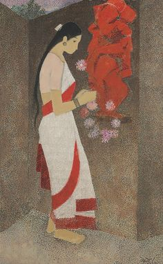 """Untitled (Woman and Ganesha), by N. S. Bendre - """"The Brahma Sutra refers to the creation of the world as an act of lila, play, the joy of the poet, eternally young."""" - S. Radhakrishnan."""