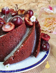 PATYCO - CANDYBAR : *Red Velvet Bundt Cake with Cherries Fruit Topping and Cream Cheese Icing* Red Velvet Bundt Cake, Cocoa, Cherry Fruit, Cream Cheese Icing, Bundt Cakes, Cherries, Cheesecake, Yummy Food, Baking