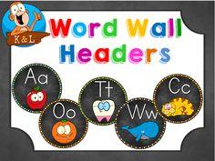 Free word wall headers.                                                                                                                                                     More