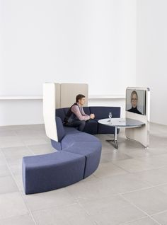 No more huddling in your corner cubicle. No more worrying about videobombs from your coworkers. With a sleek setup designed to seat employees comfortably and a smart acoustics setup, this videoconferencing area makes any quick call easy and relaxing. #cubiclefreedom