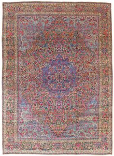 Oversize Antique Lavar Kerman Rug Hand-knotted in Persia