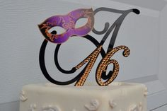 Sweet 16 or Quinceanera Mardi Gras Mask Custom Monogram Cake Topper BLACK Monogram Cake topper 5 inch Masquerade Carnival on Etsy, $75.00