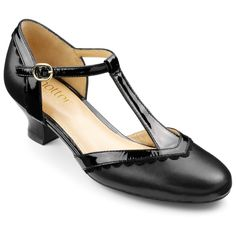 The black pumps. T-bar straps. Patent leather/leather. Image for Viviene Heels from HotterUSA