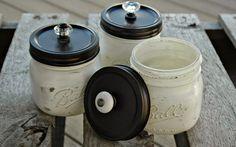Distressed Painted Mason Jars