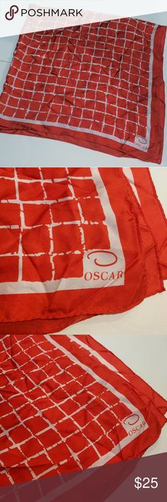 "Oscar de la Renta Silk Square Scarf Red White 33"" inch x 33"" inch square scarf 100% silk  This scarf is a red color. I know some of the photos look like it's a red-orange, but it is a true red color. I apologize, I have warm tone lights in my home. Oscar de la Renta Accessories Scarves & Wraps"
