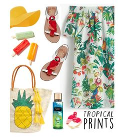 """Tropical"" by chloe-86 ❤ liked on Polyvore featuring J.Crew, Kate Spade, Accessorize, Sensi Studio, tropicalprints and hottropics"