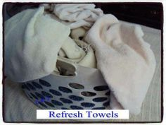 Refresh Towels  After a while, towels start to have a build up of softeners  laundry soap. This causes them to no longer absorb like they did when you first purchased them. You may even start noticing an odor that is not so pleasant after a while, too.  How can you refresh them once this happens? Simple solution to follow....  Run them through a wash cycle with only hot water  1 cup of white vinegar. Do not add soaps!  Then run them through again. This time using hot water and 1/2 cup ...