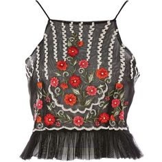 Aoife Mesh Crop Top by Lace & Beads (€44) ❤ liked on Polyvore featuring tops, black, summer crop tops, lace top, beaded crop tops, going out tops and lace mesh top