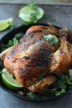 Poblano, Cilantro and Lime Roast Chicken - Cooking for Keeps